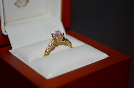 A diamond ring in a display box